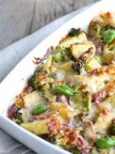 gratin pomme de terre brocoli béchamel jambon recette