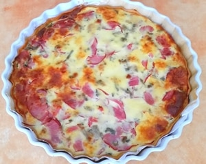 quiche aubergine bacon gorgonzola courgette