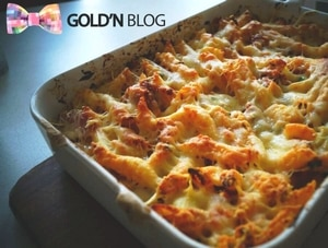 Gratin de pâtes légumes jambon cru, la recette